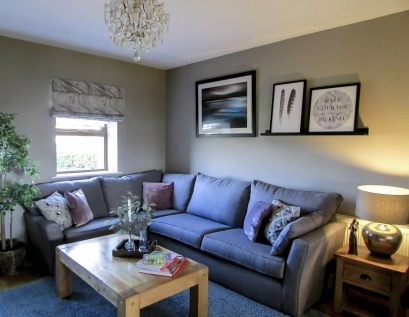 Contemporary room design, furniture layout, custom-made window dressing/ blind, Co. Leitrim, Ireland