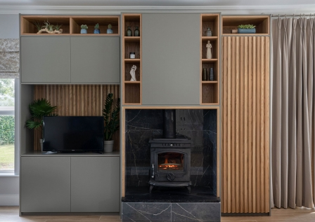 Bespoke large unit with solid wood details designed by AlenaCDesign, Ireland