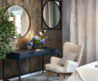 Unique design and styling dressing table with accent chair