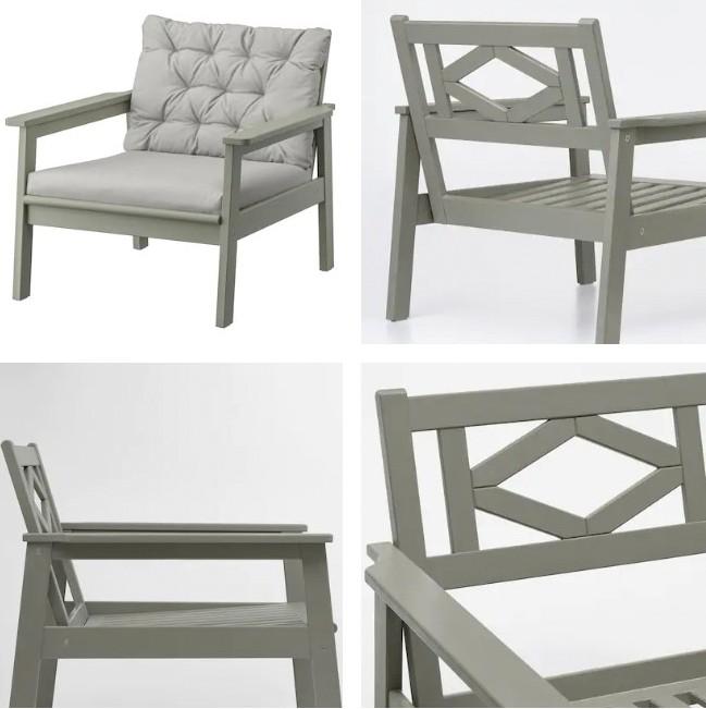 wooden grey armchair Ikea